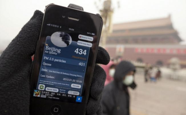 Air quality info available on smartphone.