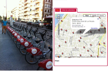 Bicycle parking lot with contact sensors and central data base with information of parking lot around the city and availability.