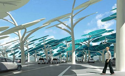 Concept by Neville Mars, the solar forest, to recharge eletric cars