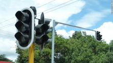 Traffic lights first ever created in Livingstone town (2011)in Southern province of Zambia. A tourist destination city.