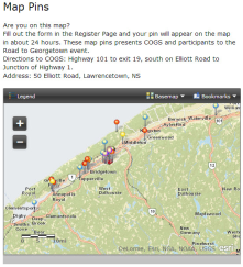 LIVE MAP PINS<br/>Registrants to an event fill out an online form and a LIVE pin in a map appears -- colour coded based on answers to questions