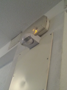 It's a movement sensor so the light only operates when someone needs it. Used to reduce energy consumption in buildings.