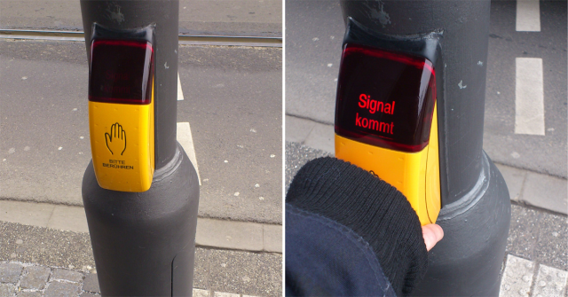 It is a pedestrian crossing sensor. Once people touch it, this displays a red sign which tells one can cross. It is widely used in Germany.