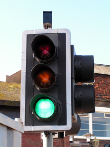 red light sensor with green light showing