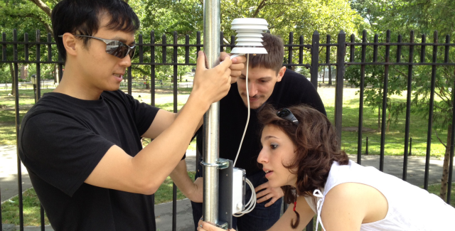 sensors to log the urban heat island effect in St. James and Echo parks in the Bronx