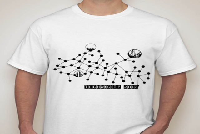 I just have fun doing this t-shirt idea.  It means the possible connection of cities through the use of technology.