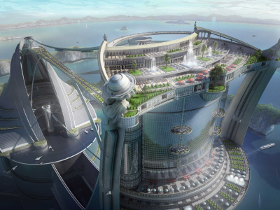 An artist's depiction of a hyper-futuristic city.