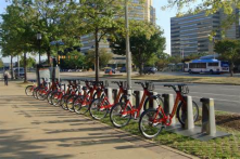 Bikeshare in Washington DC next to every metro station where you are able to rent bicycles for $75.00 that covers you for the whole year.