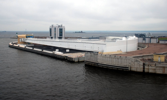 New technological dam that protect city against the flood and lets to ferries enter the harbor without problems.