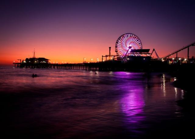 The Santa Monica Pier, lit up at night.  Photo credit: http://techli.com/wp-content/uploads/2012/07/Los-Angeles-Tech.jpg
