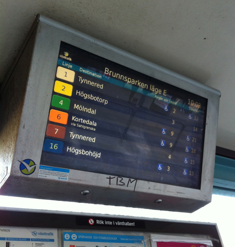 Gothenburg - a bus timetable in every bus-stop