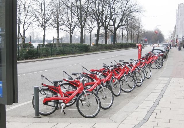 This is the StadtRAD Hamburg, a public bicycle system for hire.  
