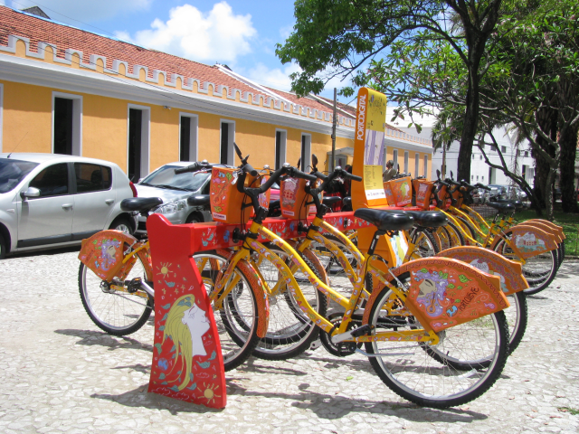 Better later than never. In Downtown Recife (PE - Brazil) since January we have bike sharing service (via phone or smartphone-app).