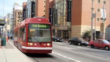 Streetcar under construction in Downtown Cincinnati.