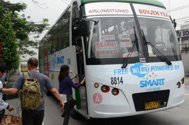 free wifi onboard city buses  http://askhideki.com/wp-content/uploads/2012/06/SMART-Free-WiFi-Bus.jpg
