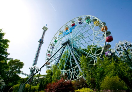 Liseberg amusement park, featuring Europe's highest free-fall (Atmos-fear).