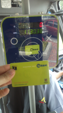A brand new technology for public transport buses in Bogotá (Colombia) – paying with an electronic rechargeable card (Tu Llave)