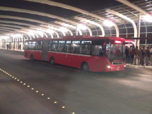 Metro bus in Lahore, latest effort by local government to reduce traffic congestion in city.