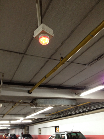 Parking place busy. Sensor light