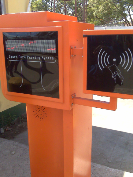 This is a smart card parking system which is yet to be commissioned and this system has been placed in Long distance bus terminus
