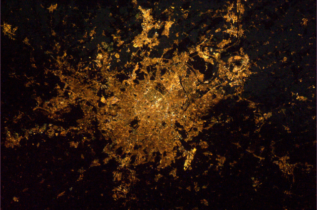 A satellite view of Paris at night