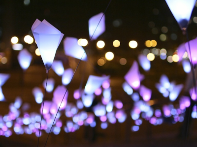 Kinetic LED installation at tribeca film festival opening