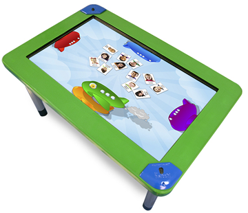 Touch table for kids, from http://hatchearlylearning.com/technology/weplaysmart/
