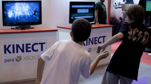 Kids playing with Kinect