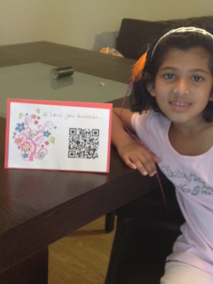 QR codes for kids! my daughter took a mothers day video in class converted to a QR code and brought it home.