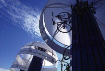 "The solar-powered ""Bike Tree"""