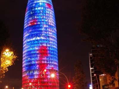 Torre Agbar in Barcelona: projection of colored light