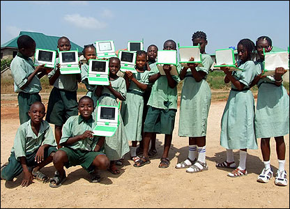 The One Laptop per Child is a project designed to bring technology to children in less wealth countries, such as the African children here.