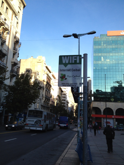 Wifi free access in every square. In Montevideo, part of Plan Ceibal, a OLPC innitiative to all, students and citizens
