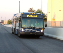 I was walking near the Bow Tie Cinemas this past weekend & saw them test driving a bus on a paved area of the CTFASTRAK route in Hartford.