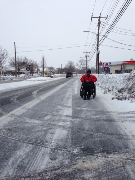 Despite poor pedestrian facilities on CT 173 West Hartford those with challenges persevere.