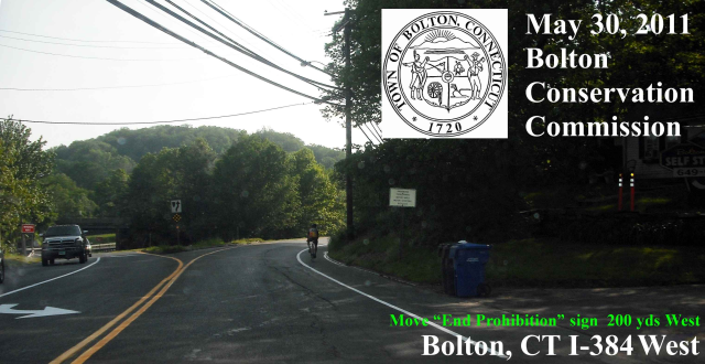 Bike Prohibition Sign should be moved (west) down state road so that bikes can legally ride west on RT 44/6.