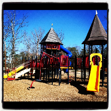 Duke Park is host to one of the largest playground structures in Durham's park system