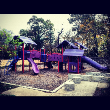 Riverforest Park is home to a soccer field, playground structure, picnic shelter, and newly installed basketabll court