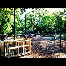 Oval Drive Park has a variety of playground implements as well as tennis courts, basketball courts, and a picnic shelter.