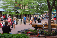 Pedestrian oriented shopping and entertainment areas