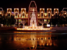 Holiday lights and music in Frisco Square
