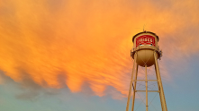 I took this photo right after the sun came up of the Frisco water tower off of Main St. 