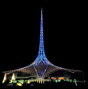 The spire at the Melbourne Performing Arts Centre acts as a beacon for performing arts in Australia.