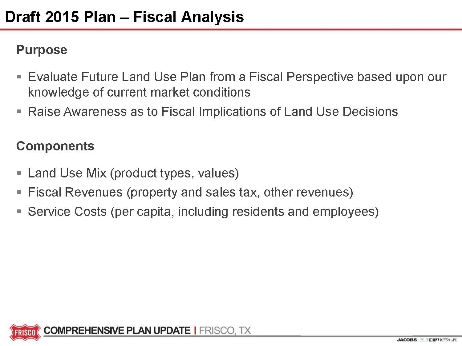 Review the draft 2015 Comprehensive Plan