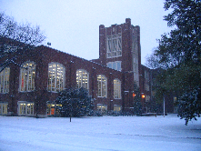 UND's Chester Fritz Library during a December snow fall.