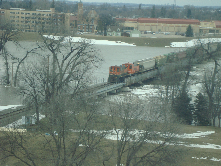 Last train through in Spring of 2010 before floodwall put up