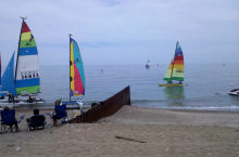 Glencoe sailing beach.  You can rent a kayak or a Hobie Cat there.  Nice people, small, low-key town.