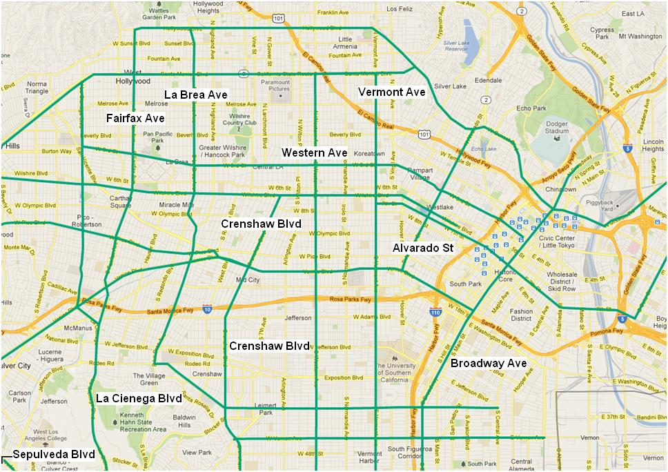Transit-Enhanced Network: North-South Streets in Central LA
