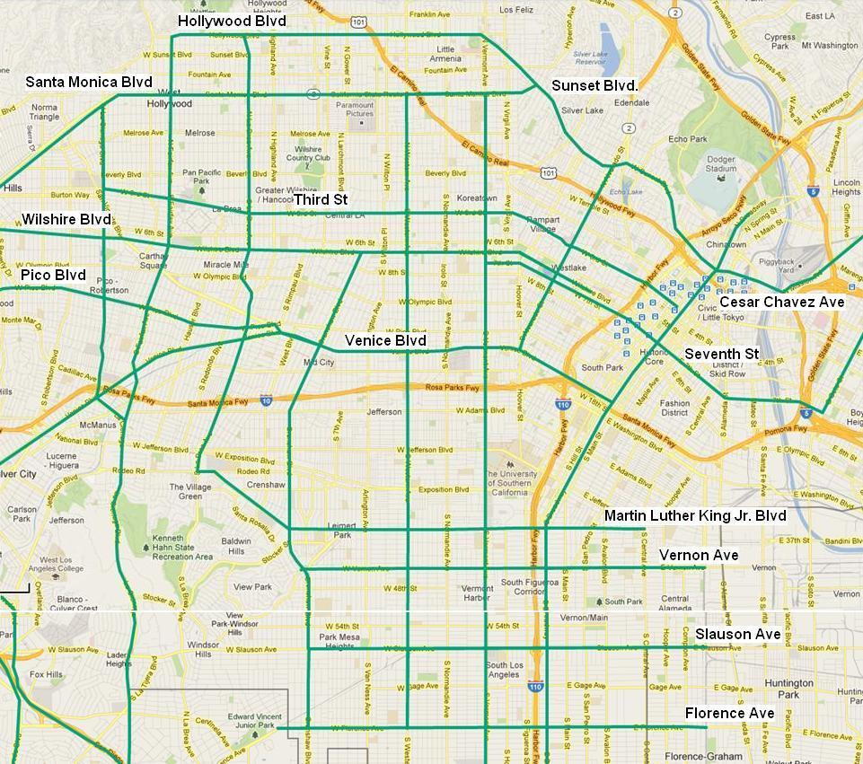 Transit-Enhanced Network: East-West Streets in Central LA
