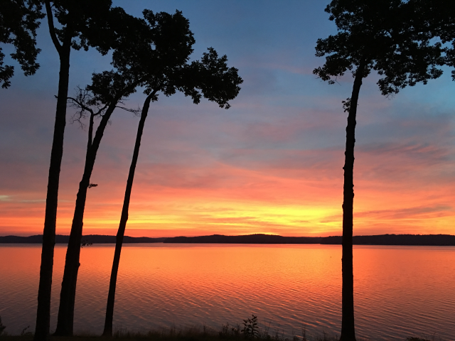 What a majestic place! This shot looks out over Kentucky Lake to see the sun coming up over LBL.